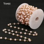 Wholesale Rosary Chain Natural Pink Quartz Rose Crystal 0.6mm Pure Copper & 6mm Faced Round Beads 5 Meters/Pack <b>Making</b> <b>Jewelry</b>