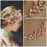 Dower me <b>Handmade</b> Fresh water Pearl Wedding Hair Vine <b>Jewelry</b> Gold Bridal Tiara Headband Accessories