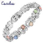 Escalus 2018 Women's Colorful Cat Eye Stones Magnetic <b>Jewelry</b> Bracelet For Women Silver Color Charm Health Bracelets Wristband