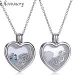 Moonmory Authentic 925 <b>Sterling</b> <b>Silver</b> Floating Heart Locket Necklace With Crystal Glass and Petite Elements Charms <b>Jewelry</b>