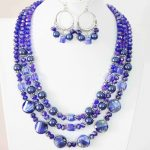 High grade lady earrings 3rows necklace blue round imitation shell crystal beads <b>making</b> <b>jewelry</b> set 18-22″ B1004