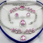 Prett Lovely Women's Wedding Bridal Jewellery Set Pink Crystal gem Necklace Earring Bracelet Ring silver