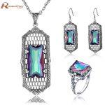 2017 New Fashion Women Engagement Pendant <b>Earring</b> Ring Luxury Retro 925 <b>Silver</b> Mystic Rainbow Crystal Zirconia Jewelry set