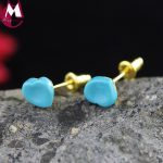 Heart Round Turquoise Design Genuine Sterling <b>Silver</b> 925 Jewelry Ear Piercing Accessories Gold Color Stud <b>Earrings</b> Female Girl