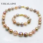YIKALAISI 2017 100%Natural Baroque Pearl Jewelry Necklace <b>Bracelet</b> 10-12 MM Pearl 925 sterling <b>silver</b> jewelry For Women
