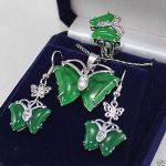 Prett Lovely Women's Wedding shipping> ><b>Jewelry</b> 18KGP butterfly green gem pendant Necklace earrings ring set For Women
