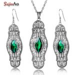Szjinao 925 Sterling <b>Silver</b> Jewelry Set Choker Emrald <b>Earrings</b>/Pendant For Women Bridal Jewelry Sets Lima Peru