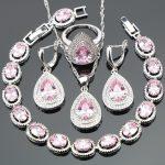 <b>Silver</b> 925 Costume Jewelry Sets Women Pink Zircon <b>Bracelets</b> Earrings Pendant Necklace Rings With Stones Set Jewelery Gift Box
