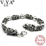 100% Real Pure 925 <b>Silver</b> men <b>bracelet</b> Wholesale Genuine fine double dragon head <b>bracelet</b> free shipping men jewelry HYB16