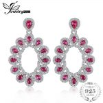 JewelryPalace Luxury 1.15ct Created Ruby Cluster Drop <b>Earrings</b> Pure 925 Sterling <b>Silver</b> Jewerly Fine <b>Earrings</b> For Wedding Women