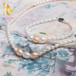 NYMPH Pearl Jewelry Set With Box Pure Fresh Water Drop White Pink Choker Necklace Bracelet For Women Wedding PartyT106