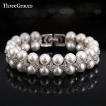 ThreeGraces Newest Bridal <b>Jewelry</b> <b>Accessories</b> Handmade Freshwater Double Pearl Big Wedding Bracelets Bangles With Zirconia BR066