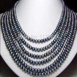 "Fashion all-match girl Long 130 ""7-8mm Black Akoya Cultured Pearl Necklace beads <b>jewelry</b> <b>making</b> YS0302"