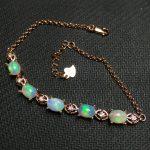 opal gemstone bracelet in 925 <b>sterling</b> <b>silver</b> gemstone <b>jewelry</b> for girls with <b>jewelry</b> box
