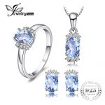 JewelryPalace Birthstone 3.2ct Genuine Oval Sky Blue Topaz Ring Pendant Necklace Stud Earrings <b>Jewelry</b> Sets 925 <b>Sterling</b> <b>Silver</b>