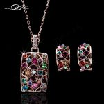 DFS022 Luxury Multicolor Rose Gold Color Crystal Necklaces & Pendants Earrings Set African Brand <b>Wedding</b> <b>Jewelry</b> For brides