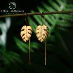 Lotus Fun Moment Real 925 Sterling Silver <b>Handmade</b> Fashion <b>Jewelry</b> Creative Monstera Leaves Design Dangle Earrings for Women