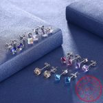 925 Sterling Silver Blue/Pink/Multicolor Austrian Crystal Cube Stud Earring For Women <b>Jewelry</b> <b>Accessorie</b> Square boucle d'oreille