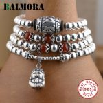 BALMORA Genuine 925 <b>Sterling</b> <b>Silver</b> <b>Jewelry</b> Red & <b>Silver</b> Beads Buddha Bracelets for Women Gifts About 70cm Long Esposas WBH0079
