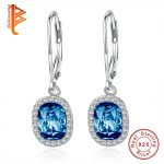 BELAWANG Real 100% 925 Sterling Silver Dark Blue Crystals Hoop Earrings for Women Pave Crystal Earrings Wedding Party <b>Jewelry</b>
