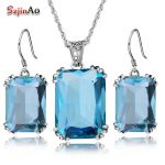 Szjinao Pirate Ship 2.6ct Bridesmaid Wedding Jewelry Set Aquamarine Real 925 Sterling <b>Silver</b> Crystal <b>Earrings</b> Vintage Pendant