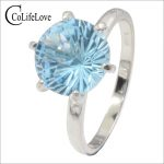 Classic light blue topaz ring for evening party 8 mm round cut natural VVS topaz <b>silver</b> ring 925 <b>silver</b> topaz fine <b>jewelry</b>