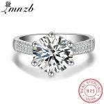 90% OFF!! LMNZB Luxury Geniune 925 <b>Sterling</b> <b>Silver</b> Wedding Engagement Ring Super 2 Carat Cubic Zirconia <b>Jewelry</b> For Bridal LR039