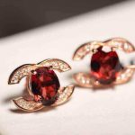 natural red garnet stone stud <b>Earrings</b> Natural gemstone stud <b>earrings</b> 925 sterling <b>silver</b> Personality cute elegant women party
