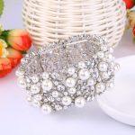 Bella Fashion Rhinestone Bridal Bracelet Simulated Pearl Austrian Crystal Charm Bracelet Stretch <b>Wedding</b> Women Party <b>Jewelry</b>
