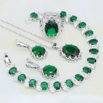 925 Sterling <b>Silver</b> Jewelry Green Rhinestone White CZ Bridal Jewelry Sets For Women Party Ring/Earring/Pendant/Necklace/<b>Bracelet</b>
