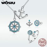 WOSTU Authentic 100% 925 Sterling <b>Silver</b> Blue CZ Anchor & Rudder Ocean Jewelry Sets Woman Party Sterling <b>Silver</b> Jewelry