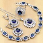 Natural Oval Blue Zircon White CZ 925 Silver <b>Jewelry</b> Sets For Women Party Earrings/Pendant/<b>Necklace</b>/Rings/Bracelet