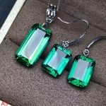 KJJEAXCMY Boutique jewels 925 pure <b>silver</b> inlaid with green crystal and 2 pieces of <b>silver</b>