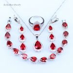 L&B White Crystal Red created Garnet Jewelry Set For Women <b>silver</b> 925 Wedding <b>Bracelet</b> Pendant Necklace Earring Ring