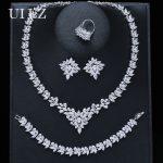 UILZ Luxury Brides Wedding <b>Jewelry</b> Set Cubic Zircon Crystal Bridal Earrings <b>Necklace</b> Bracelet Ring Full Sets For Women US313