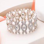 Bella Fashion Bridal Elastic Eye-shaped Pearl Tennis Bracelets Austrian Crystal Rhinestone Bracelet For <b>Wedding</b> Party <b>Jewelry</b>