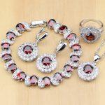 925 Sterling <b>Silver</b> Jewelry Red CZ Stones White Zircon Jewelry Sets For Women Earrings/Pendant/Necklace/Rings/<b>Bracelet</b>