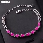 ZHHIRY Women Natural Ruby Gem <b>Bracelet</b> Genuine Solid 925 Sterling <b>Silver</b> Precious Stone Fine Colored Tones Jewelry