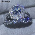 choucong Trendy ring set Round 5A zircon Crystal 925 sterling <b>silver</b> Engagement Wedding Band Rings For Women Bridal <b>jewelry</b>
