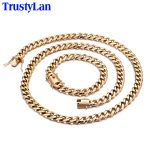 TrustyLan Luxury Gold Color Stainless Steel Dubai <b>Jewelry</b> Sets Punk Rock 11MM Wide Bracelet Necklace Set Men <b>Jewelry</b> <b>Accessories</b>
