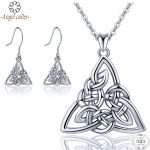 Angel Caller Real 925 Sterling <b>Silver</b> Triangle Jewelry Sets Celtics Knot Pendant Necklace Drop <b>Earrings</b> Fine Jewelry for Women