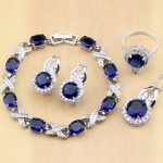 925 <b>Silver</b> Jewelry Blue Cubic Zirconia Jewelry White Zircon Women Earring Pendant Necklace Rings <b>Bracelet</b> Party Jewelry Sets