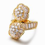 Superior Luxury Design! 2 Flowers Baguette Cut Cubic Zirconia Crystals <b>Wedding</b> Cocktail Party Vintage Women <b>Jewelry</b> Big Rings