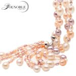 Real multi color tassel natural freshwater pearl <b>necklace</b> for women,white long pearl <b>necklace</b> jewelry