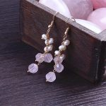 Female fashion earrings Natural pearl powder long earrings Japan Korean temperament <b>handmade</b> <b>jewelry</b>