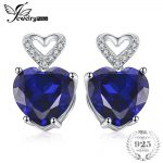 JewelryPalace Heart Love 7.27ct Created Blue Sapphire Stud <b>Earrings</b> Charms 925 Sterling <b>Silver</b> Wedding Jewelry Gift For Lovers