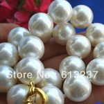 Fashion Charming 14mm white simulated-pearl shell round beads necklace women weddings party gifts <b>jewelry</b> <b>making</b> 18inch MY2011