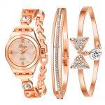 Women <b>Bracelet</b> Watch Rose & <b>Silver</b> Bow Alloy Jewelry Quartz Wristwatch Ladies Luxury Dress Watch Waterproof Clock S0382