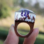 Beautiful Women Handmade Designer Rings Wooden Rings Magical Purple Flower Inside Ring Anillo Ring <b>Jewelry</b> for Women Men