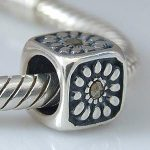 Authentic 925 Sterling Silver <b>Antique</b> style surrounded by flowers with black CZ Fit Pandora Bracelet Bangle DIY <b>Jewelry</b>